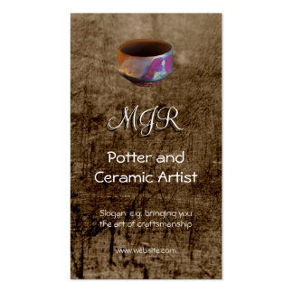 Monogram, Potter, Ceramic Artist, leather-effect Pack Of Standard Business Cards