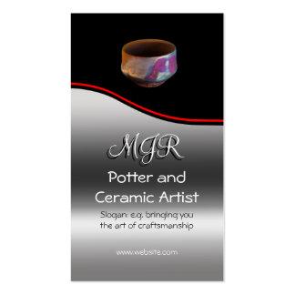 Monogram, Potter, Ceramic Artist, red swoosh Pack Of Standard Business Cards