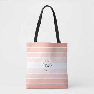Monogram Powder Pink Coral Pastel Stripes Tote Bag