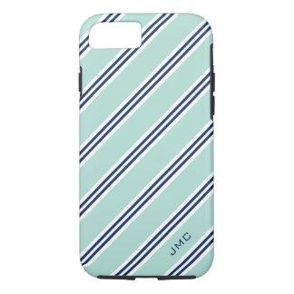 Monogram Preppy Mint Stripes iPhone 8/7 Case