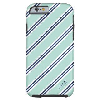 Monogram Preppy Mint Stripes Tough iPhone 6 Case