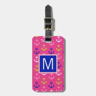 Monogram | Preppy Nautical Anchors Luggage Tag