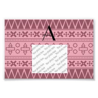Monogram pretty pink aztec pattern photographic print