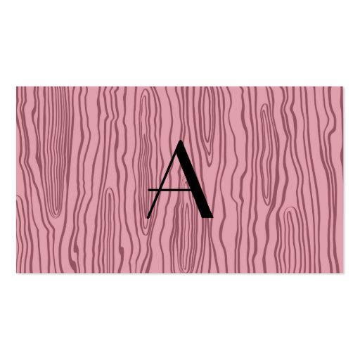 Monogram pretty pink faux bois business card