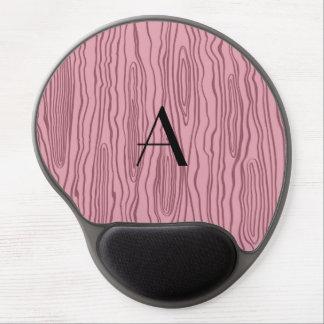 Monogram pretty pink faux bois gel mouse pad