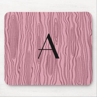 Monogram pretty pink faux bois mouse pad