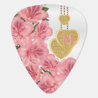 Monogram Pretty Pink Floral Guitar Pick