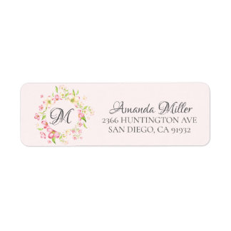 Monogram Pretty Pink Floral Return address
