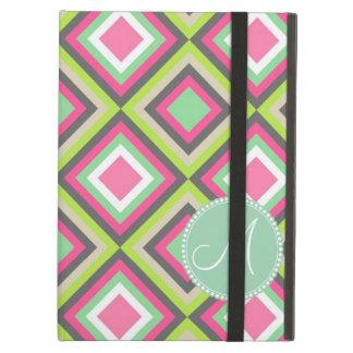 Monogram Pretty Pink Green Gray Diamonds Square iPad Air Case