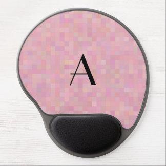 Monogram pretty pink mosaic squares gel mouse pad