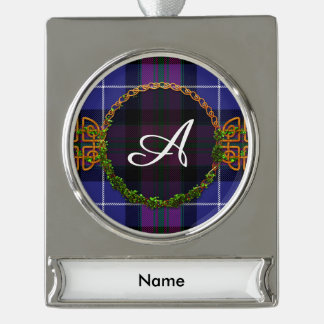 Monogram Pride Of Scotland Tartan Silver Plated Banner Ornament