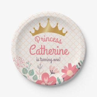Monogram. Princess Party on Floral Paper Plate