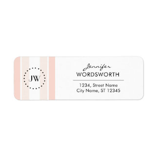 Monogram Professional Coral Pastel Address Labels