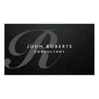 Monogram Professional Elegant Modern Black Metal Business Card