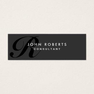 Monogram Professional Elegant Modern Black Mini Business Card