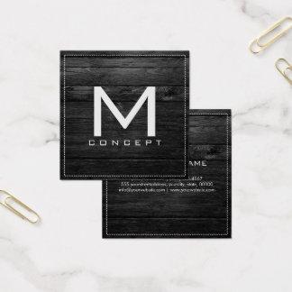 Monogram Professional Elegant Modern Black Wood Square Business Card