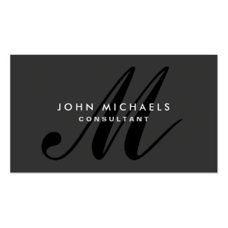 Monogram Professional Plain Elegant Black Double-Sided Standard Business Cards (Pack Of 100)
