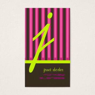 Monogram psychedelic colors/chocolate stripes business card