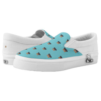 Monogram. Pups Rule! Cute Puppy Dog Pattern. Slip-On Shoes