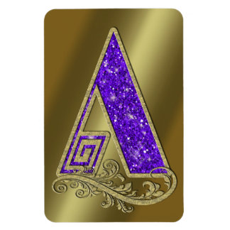 Monogram Purple A Rectangular Photo Magnet