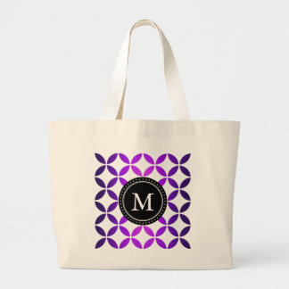 Monogram Purple Abstract Circles and Diamonds Jumbo Tote Bag