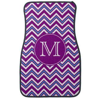 Monogram Purple and Aqua Chevron Floor Mats-Front Floor Mat