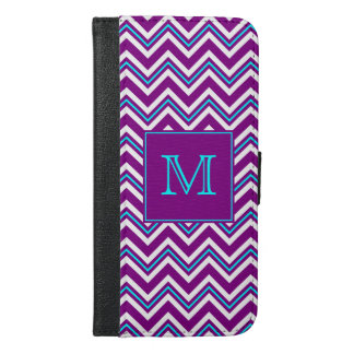 Monogram Purple and Aqua Chevron iPhone 6/6s Plus Wallet Case