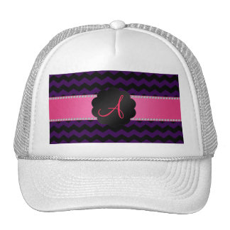 Monogram purple and black chevrons cap