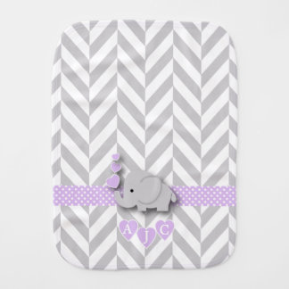 Monogram Purple And White Chevron Baby Elephant Burp Cloth