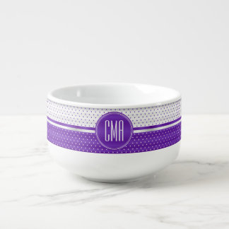Monogram Purple and White Polka Dots Pattern Soup Mug