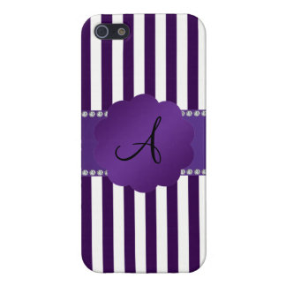 Monogram purple and white stripes case for iPhone 5