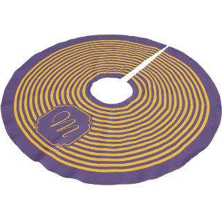 Monogram Purple and Yellow Striped Brushed Polyester Tree Skirt