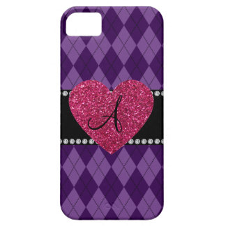 Monogram purple argyle pink heart iPhone 5 case