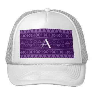 Monogram purple aztec pattern mesh hat