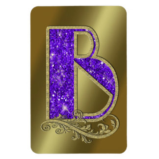 Monogram Purple B Rectangular Photo Magnet