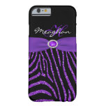 Monogram Purple, Black Glitter Zebra iPhone 6 case Barely There iPhone 6 Case