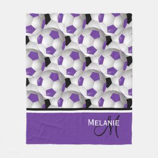 Monogram Purple Black Soccer Ball 50 x 60 Fleece Blanket