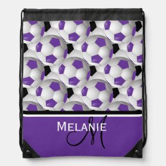 Monogram Purple Black Soccer Ball Pattern Drawstring Bag