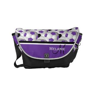 Monogram Purple Black Soccer Ball Pattern Commuter Bag