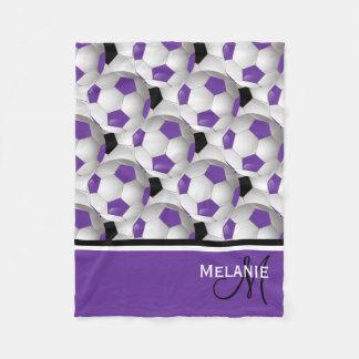 Monogram Purple Black Soccer Ball Pattern Fleece Blanket