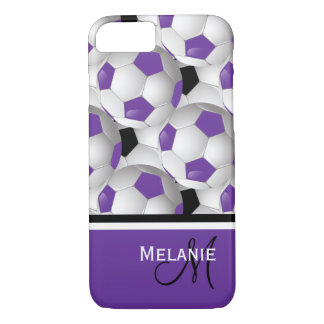 Monogram Purple Black Soccer Ball Pattern iPhone 8/7 Case