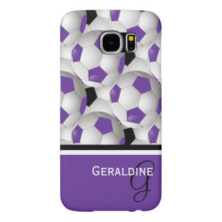 Monogram Purple Black Soccer Ball Pattern Samsung Galaxy S6 Cases