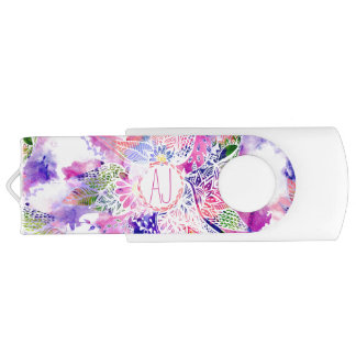 Monogram purple blue watercolor abstract floral USB flash drive