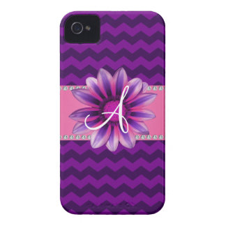 Monogram purple chevrons pink daisy iPhone 4 Case-Mate cases