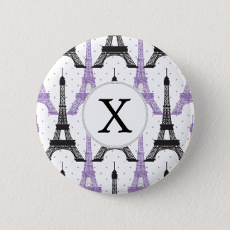 Monogram Purple Chic Eiffel Tower Pattern 6 Cm Round Badge