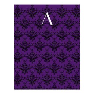 Monogram purple damask flyer design