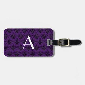 Monogram purple damask travel bag tag