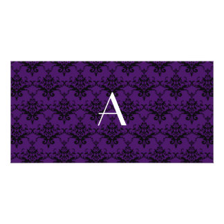 Monogram purple damask picture card