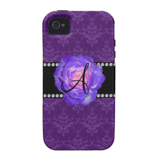 Monogram purple damask purple rose Case-Mate iPhone 4 cases