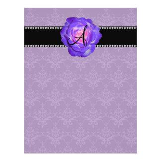 Monogram purple damask purple rose flyer